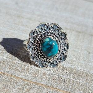 Tibetan Turquoise 925 Ring Size 8.25
